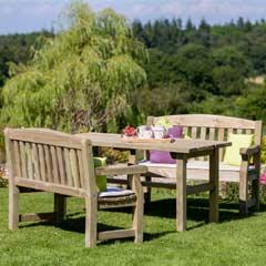 Zest 4 Leisure Emily FSC 2 Benches & 160cm Rectangular Table Set