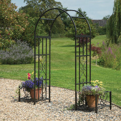 Greenhurst Huntingdon Ornamental Steel Arch and Planters