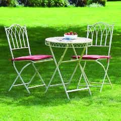 Greenhurst Versailles Steel 2 Folding Chair 60cm Round Bistro Set - Cream