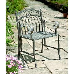 Greenhurst Versailles Steel Arm Chair � Antique Grey