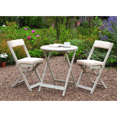 Greenhurst Raffles FSC Acacia 2 Folding Chair 60cm Round Bistro Set with Cushions - White
