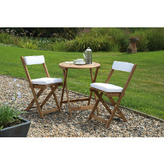 Greenhurst Raffles FSC Acacia 2 Folding Chair 60cm Round Bistro Set with Cushions - Natural