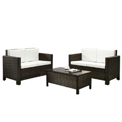 Rattan 2 x 2 Seater Sofas with 90cm Rectangular Coffee Table Set - Brown