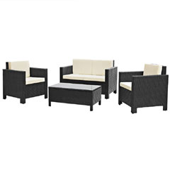 Rattan 2 x Armchair and 2 Seater Sofa with 91cm Coffee Table - Black