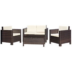 Rattan 2 x Armchair and 2 Seater Sofa with 91cm Coffee Table - Brown