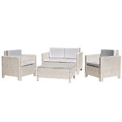 Rattan 2 x Armchair and 2 Seater Sofa with 91cm Coffee Table - Light Grey