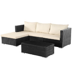 Rattan Corner 3 Seater Sofa with 90cm Coffee Table Set - Black