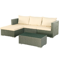 Rattan Corner 3 Seater Sofa with 90cm Coffee Table Set - Brown