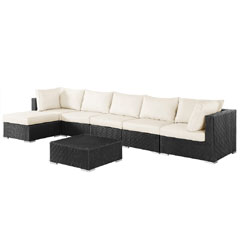Rattan Corner 5 Seater Sofa with 70cm Coffee Table Set - Black
