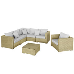 Rattan Corner 5 Seater Sofa and Armchair With 70cm Table Set - Camel