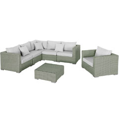 Rattan Corner 5 Seater Sofa and Armchair With 70cm Table Set - Grey