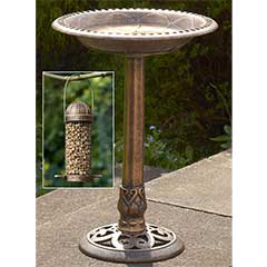 60cm Bronze Finish Bird Bath with Free Bird Feeder