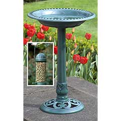 60cm Verdigris Bird Bath with Free Bird Feeder