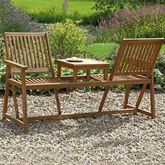 Acacia Companion Seat with Switchable Backrests - 156.5cm Width