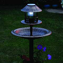Resin Bird Bath & Feeder with Solar Light and Planter 105cm Height - Grey