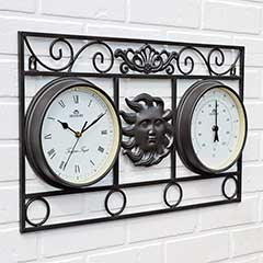 Wall Frame Sun Clock and Thermometer Black - 54.5cm Width