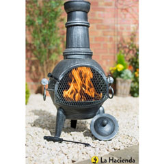 La Hacienda Arriba Steel Chiminea with Grill 85cm