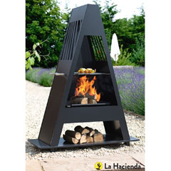 La Hacienda Alpha Steel Chiminea with Grill 146cm