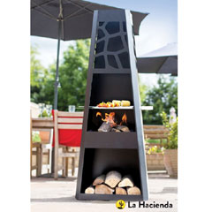 La Hacienda Savannah Steel Chiminea with Grill 146cm
