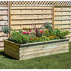 Zest 4 Leisure Wooden Raised Bed Planter - W180 x D90cm x H45cm