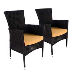 Europa Leisure Stockholm Chair Black Rattan with Cushion - Pack of 2