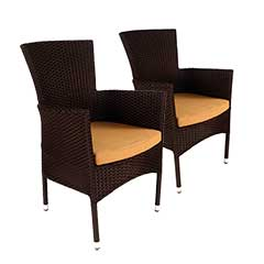 Europa Leisure Stockholm Chair Brown Rattan with Cushion - Pack of 2