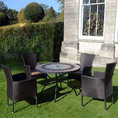 Europa Leisure Alcira Steel 4 Armchairs 100cm Round Dining Set - Black Chairs