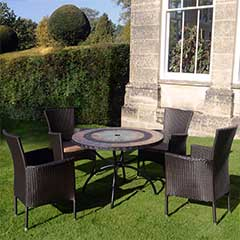 Europa Leisure Alcira Steel 4 Armchairs 100cm Round Dining Set - Brown Chairs