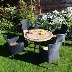Europa Leisure Monaco Steel 4 Armchairs 100cm Round Dining Set - Black Chairs