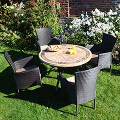 Europa Leisure Monaco Steel 4 Armchairs 100cm Round Dining Set - Brown Chairs