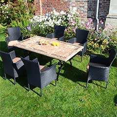 Europa Leisure Monte Carlo Steel 6 Armchairs 171cm Rectangular Dining Set - Black Chairs