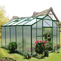 Nison EaZi-Click Polycarbonate Aluminium Greenhouse - 10 x 8ft