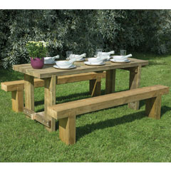 Forest Garden FSC Sleeper Bench and Refectory Table Set - 1.8m