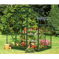 Halls Supreme Green Frame Greenhouse Long Pane Toughened Glass
