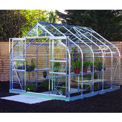 Halls Supreme Aluminium Frame Double Door Greenhouse Long Pane Toughened Glass