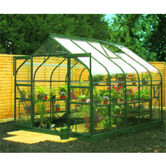 Halls Supreme Green Frame Double Door Greenhouse Long Pane Toughened Glass