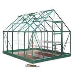 Halls Universal Green Frame Greenhouse 10 x 8ft - Long Pane Toughened