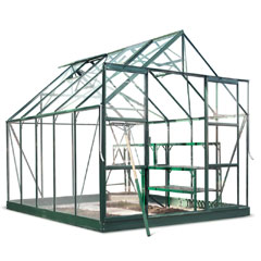 Halls Magnum Green Frame Greenhouse Long Pane Toughened Glass