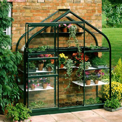 Halls Supreme Wall Garden Green Frame 2 x 6ft - Horticultural Glass