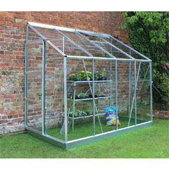 Halls Europa Lean-To Aluminium Frame Greenhouse 4 x 8ft - Horticultural Glass