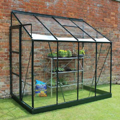 Halls Europa Lean-To Green Frame Greenhouse 4 x 8ft - Horticultural Glass