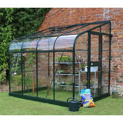 Halls Silverline Lean-To Green Greenhouse Long Pane Toughened Glass