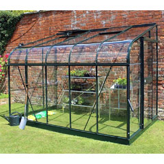 Halls Silverline Lean-To Green Frame Greenhouse Horticultural Glass