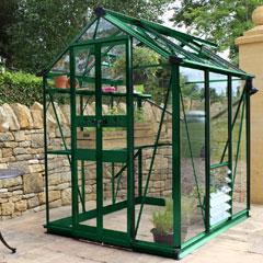 Eden Birdlip Zero Threshold Green Frame Greenhouse - Long Pane Toughened Glass