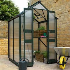 Eden Birdlip Zero Threshold Green Frame Greenhouse - 6mm Polycarbonate Glazing