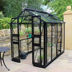 Eden Birdlip Zero Threshold Black Frame Greenhouse - Long Pane Toughened Glass