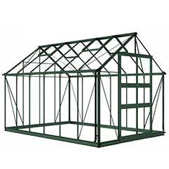Eden Blockley Zero Threshold Green Frame Greenhouse- Long Pane Toughened Glass