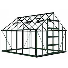 Eden Bourton Zero Threshold Green Frame Greenhouse - Long Pane Toughened Glass