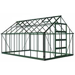 Eden Bourton Zero Threshold Green Frame Greenhouse - 6mm Polycarbonate Glazing