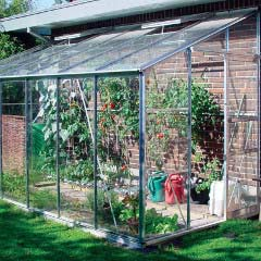 Eden Lean-To Green Greenhouse with Integral Base - Long Pane Toughened Glass